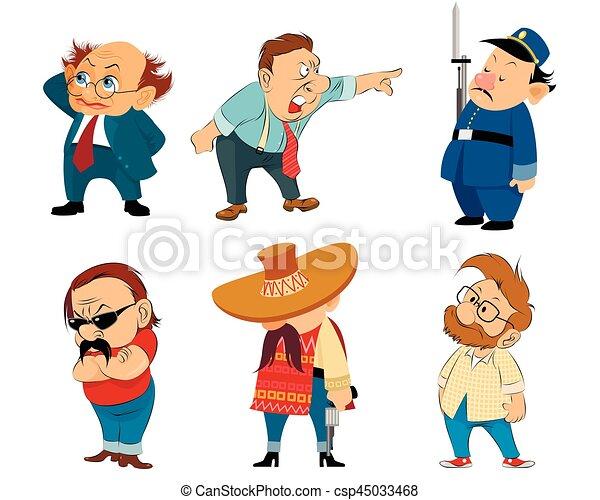 Six funny characters set - csp45033468