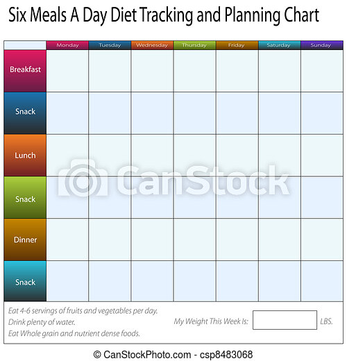 six meals a day weekly diet tracking and planning chart an image of