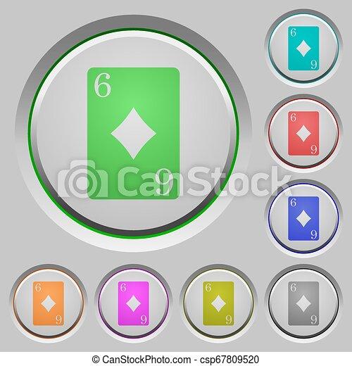Six of diamonds card push buttons - csp67809520