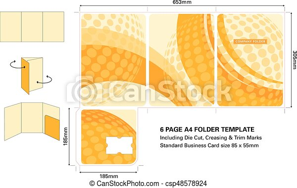 Six Page A4 Folder Template With Die Cut And Standard Business Card Slot