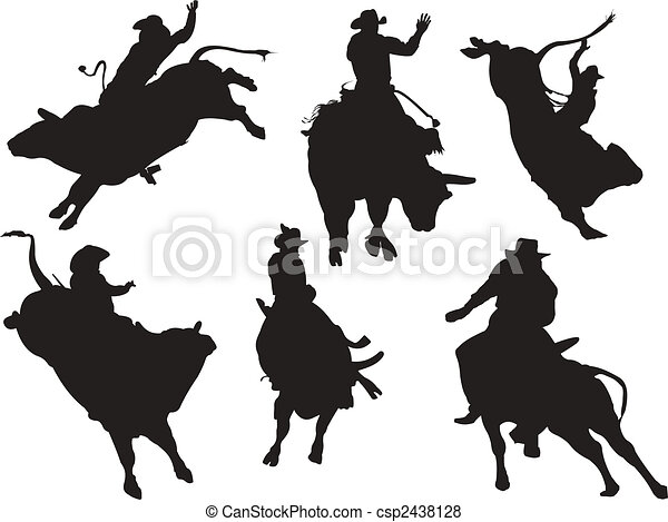 Six rodeo silhouettes. Vector illustration - csp2438128