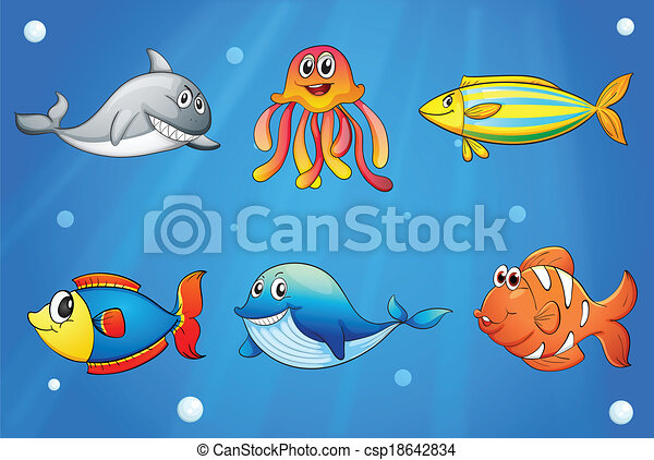 six smiling sea creatures under the deep sea illustration of the