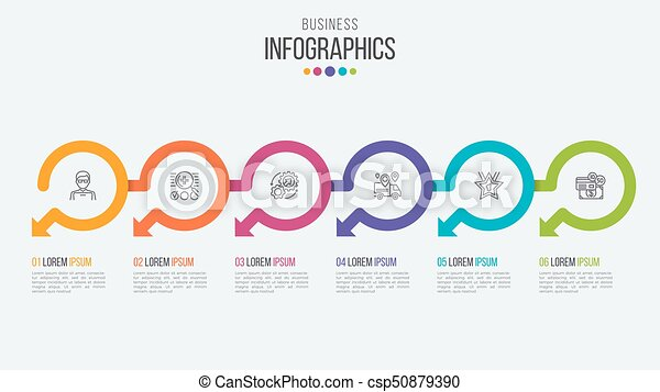 Six Steps Timeline Infographic Template With Circular Eps - Free timeline infographic template