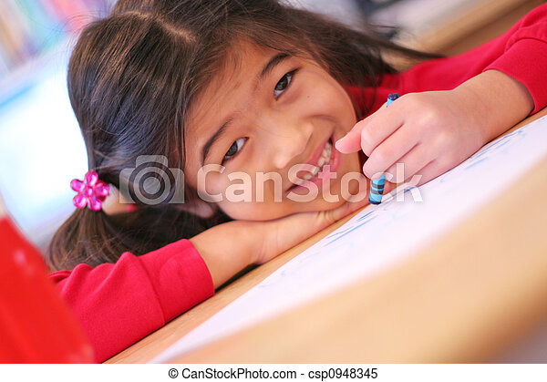 Six year old girl drawing - csp0948345