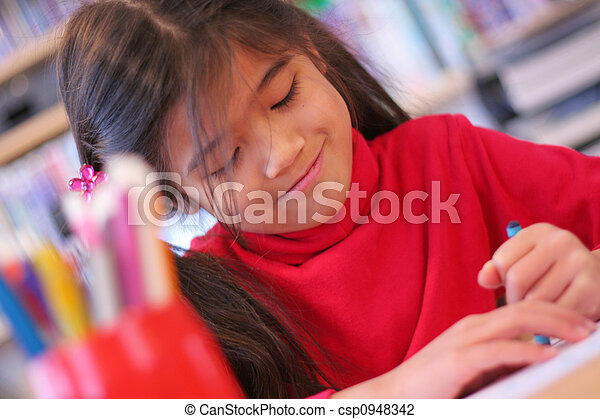 Six year old girl drawing - csp0948342
