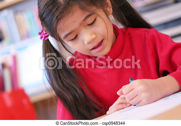 six year old girl drawing - csp0948344