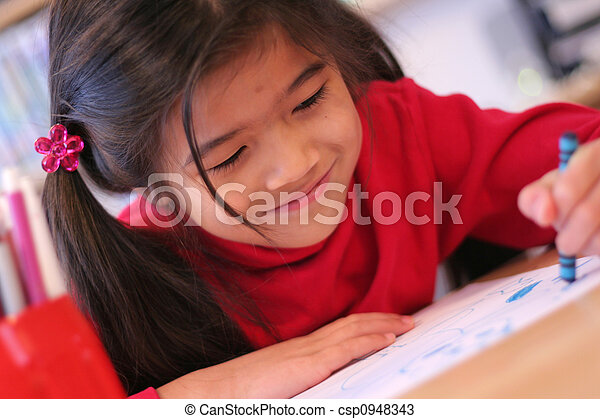 Six year old girl drawing - csp0948343