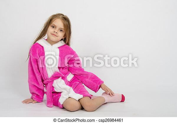 Six year old girl in a bathrobe - csp26984461
