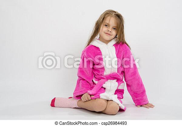 Six year old girl in a bathrobe - csp26984493
