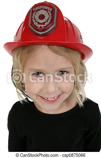 six year old girl in toy dress up fire hat - csp0875066