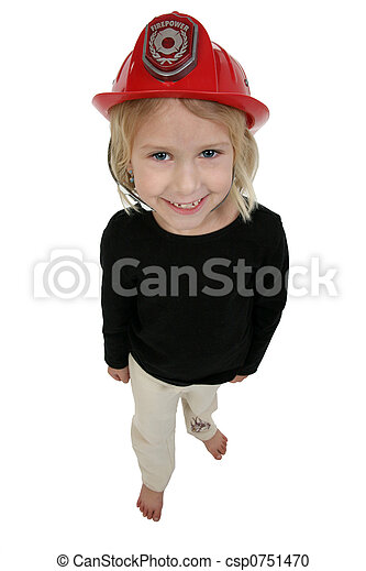 six year old girl in toy dress up fire hat - csp0751470