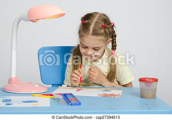Six year old girl on a drawing lesson - csp27394613