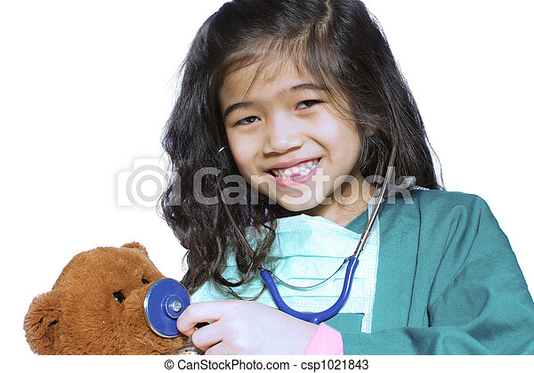 Six year old girl playing doctor - csp1021843