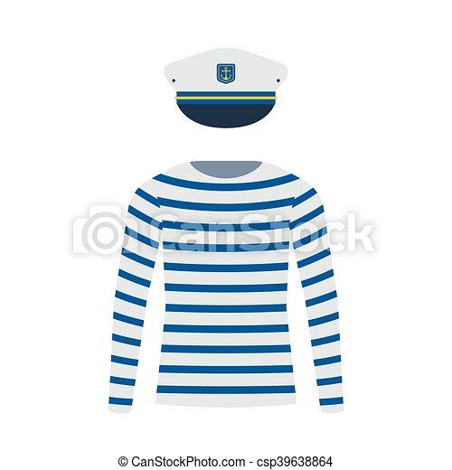 sjöman, kapten, skjorta, mössa