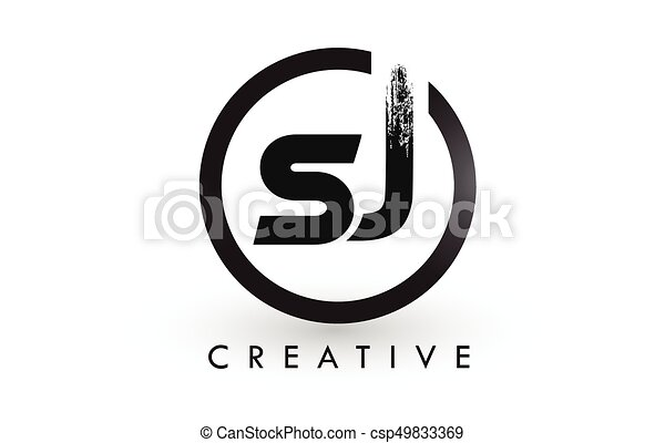 Line Art Letters : Sj brush letter logo design creative brushed letters icon clip