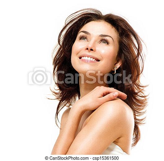 skóra, doskonały, młody, odizolowany, samica, portret, white., piękny - csp15361500