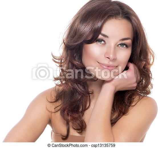 skönhet, fri, skincare, skin., portrait., frisk - csp13135759