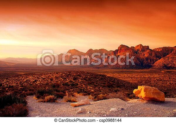 skała, kanion, czerwony, nevada - csp0988144