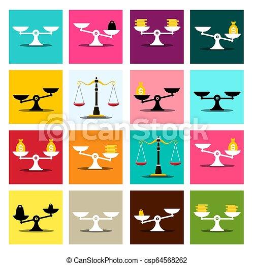 skalpy, wektor, komplet, barwny, ikony - csp64568262