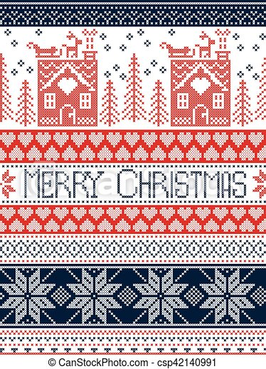 Frohe Weihnachten Norwegisch.Skandinavisch Norwegisch Winter Herz Festlicher Stich Muster Inspiriert Kreuz Haus Seamless Gewebe Baum Rentier Fröhlich Lebkuchen