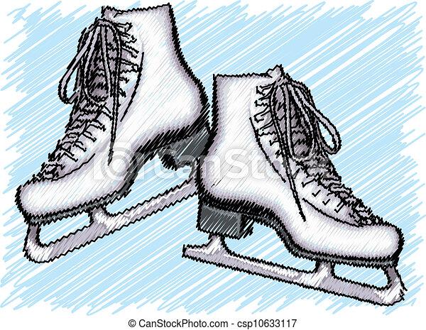 skate., ベクトル, 氷, イラスト - csp10633117