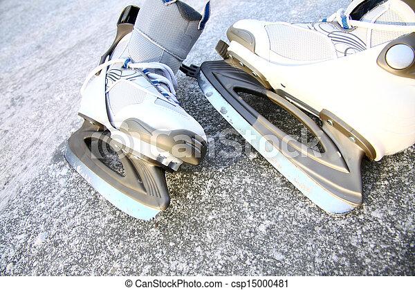 skate ice skates outdoors winter - csp15000481