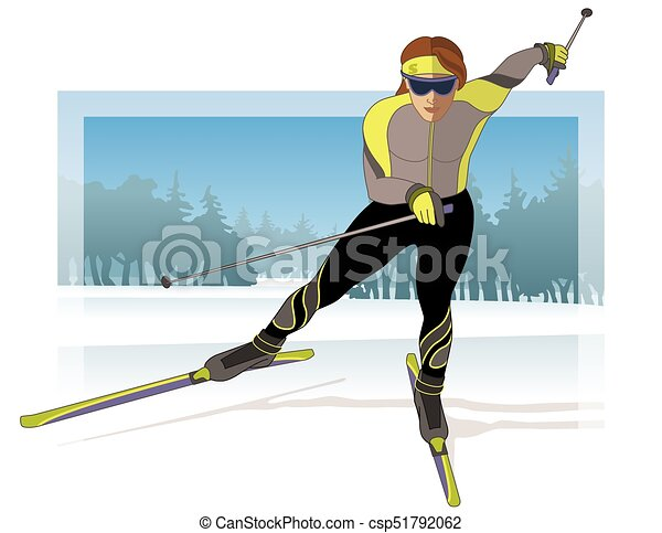skate skier, female gliding on snow with trees in background - csp51792062