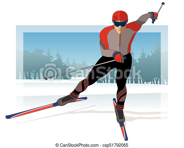 skate skier, male gliding on snow with trees in background - csp51792065