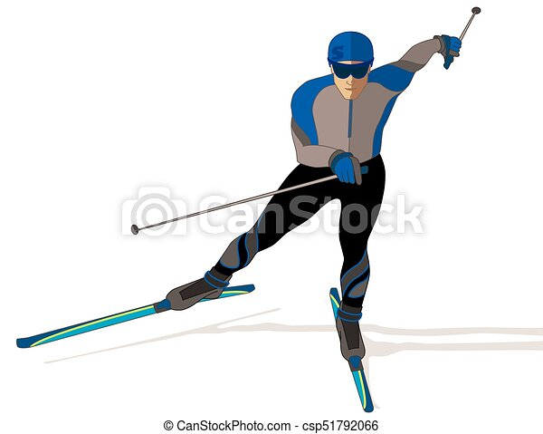 skate skier, male on a white background - csp51792066