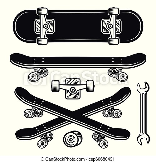 347a92cd Skateboard parts set of vector objects or elements. Skateboard parts ...