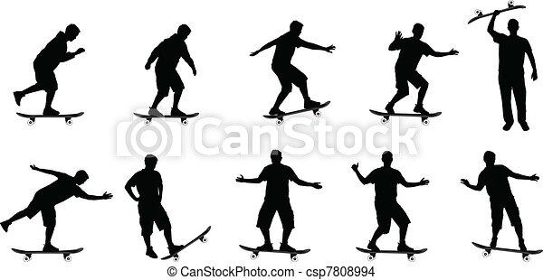 skateboard silhouettes  - csp7808994