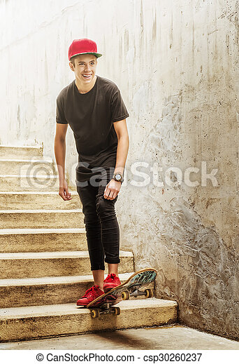 Skateboarder boy jumped from the stairs - csp30260237