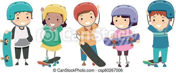 skateboarders, stickman, ilustracja, dzieciaki - csp60267006