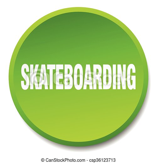 skateboarding green round flat isolated push button - csp36123713