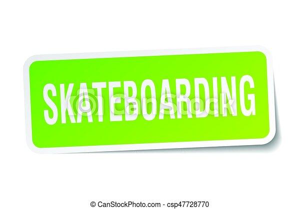 skateboarding square sticker on white - csp47728770