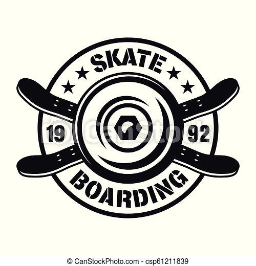 Skateboarding vector emblem with wheel and decks - csp61211839