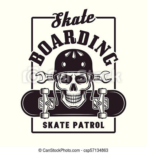 Skateboarding vector print with skull in helmet - csp57134863
