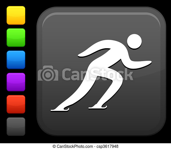 skating icon on square internet button - csp3617948