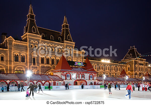 skating-rink on red square in moscow at night. GUM trading house - csp5722875