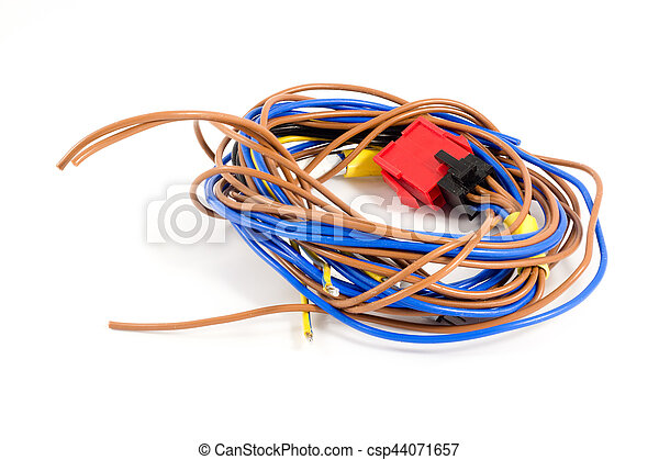 Skein of blue and brown wires on a white background. The red plug - csp44071657
