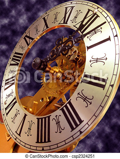 Close Up View Of Antique Skeleton Clock Face Stock