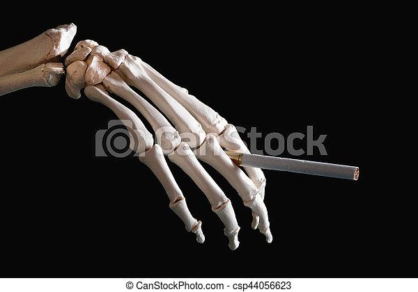 Skeleton hand holding cigarette.