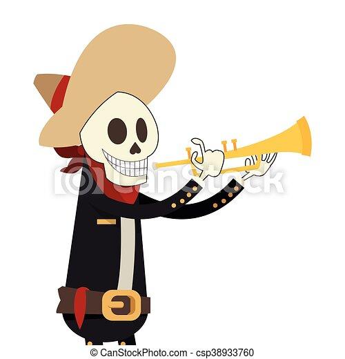 flat design skeleton mariachi icon vector illustration clip art rh canstockphoto com mariachi hat clipart