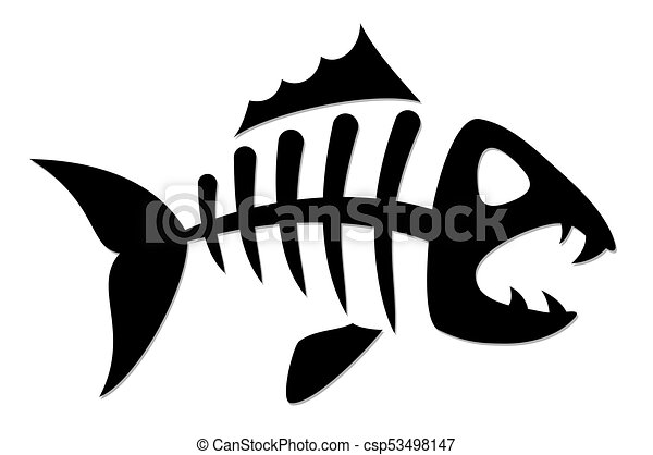 skeleton of fish skeleton of predatory sea fish rh canstockphoto com fish skeleton logo meaning Fish Skeleton Clip Art