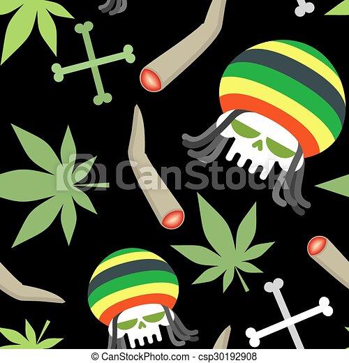 Skeleton skull rasta drogue pattern seamless vecteur marihuanny fond os fumer - Dessin de rasta ...