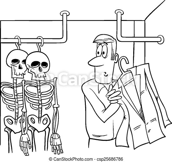 Skeletons In The Closet Cartoon Vector
