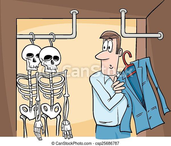 skeletons in the closet cartoon - csp25686787