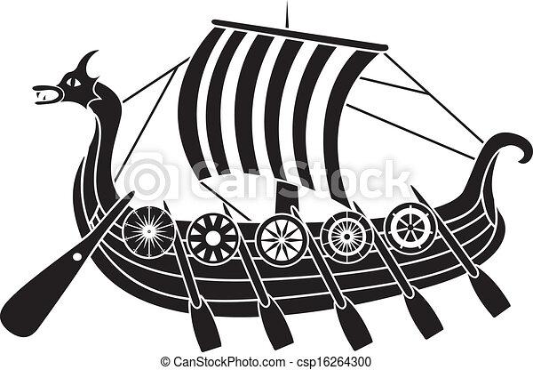 skepp, forntida, skyddar, vikings - csp16264300
