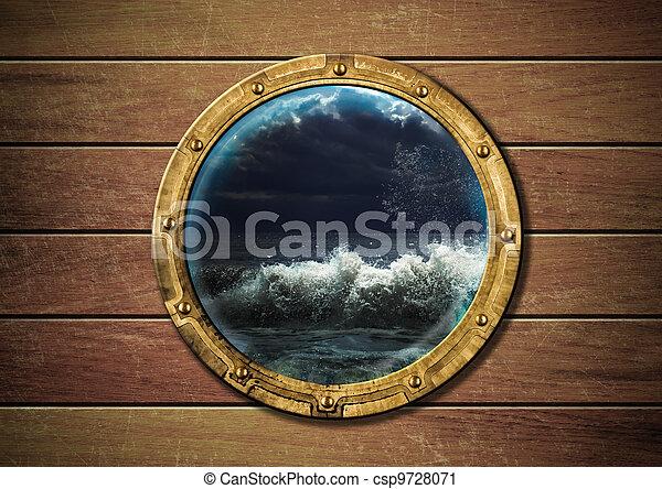 skepp, utanför, oväder, hyttventil - csp9728071