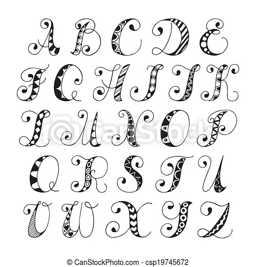 Sketch Alphabet Font Hand Drawn Black And White